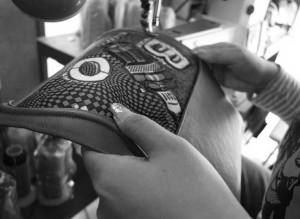 ハンドバッグミシン縫い